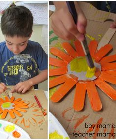 Popsicle Stick Sunflower Art @Pascale De Groof. Look how preciou !! They'll have fun making this and you'll have special, beautiful art to display!!