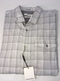 4d88d2050f762 Calvin Klein Classic Fit Button Shirt Men Medium Gray Plaid Short Sleeve  New  59  CalvinKlein