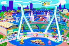Boston Art Print City of Boston Skyline View Across the Charles River through 5 different bridges, beginning with the Zakim Bridge. Boston Wall Art, Boston Skyline, Charles River, Science Museum, Art Programs, Vector Shapes, No Name, Childrens Hospital, Art Techniques