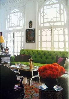 green and tangerine. perfect in an execu-tress office!