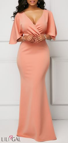 Wrap V Neck Pink Half Sleeve Mermaid Dress Latest African Fashion Dresses, African Dresses For Women, African Print Fashion, Women's Fashion Dresses, Dress Outfits, Chic Outfits, Elegant Dresses, Beautiful Dresses, Sexy Dresses