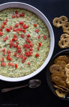 Baked Artichoke and Spinach Dip | 25 Healthy SuperBowl Recipes