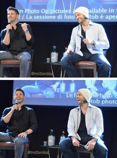 """I try to scare the crap out of her. I sneak up and I'm like """"BOO!"""" and she's just like (chuckles). She's gonna make the best horror movie date because the guy will scream and she'll be like, """"Ha, you're an idiot""""  — Jensen talking about JJ  #Jared #Jensen #JibCon14"""