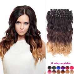 Find More Clip in Hair Extensions Information about cheap women hairpiece brown ombre body wave brazilian synthetic full head clip in hair extensions fantasy color heat resistant,High Quality clip in ponytail extensions,China clip Suppliers, Cheap clip lamp from Fantasy Hair on Aliexpress.com