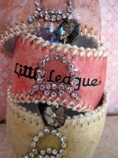 Shabby and vintage chic baseball cuffs! Enjoy!