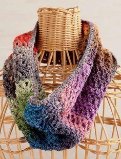 Easy-to-Wear Cowl. Edie Eckman. Crochet scarf. Crochet cowl. Crochet One-Skein Wonders. Judith Durant & Edie Eckman. Kindle. 5 ply 300m/ 100g x 1 (Noro Silk Garden Sock).