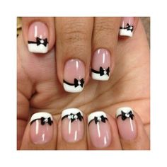 nails / black and white nails found on Polyvore...more banquet nail ideas