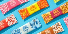 """Nice Blocks—Summer on a Stick — The Dieline  """"Nice Blocks are a dairy-free, fairtrade ice block, made with natural, organic ingredients. The direction for the new packaging was defined as 'summer on a stick'—fun, exciting, and an explosion of flavour—evoking long hot days at the beach.""""  """"Nice Blocks are a fun treat first, natural and organic second. To meet the brief, the new packaging had to be bright, colourful and eye-catching, with a second level communication of its credentials."""