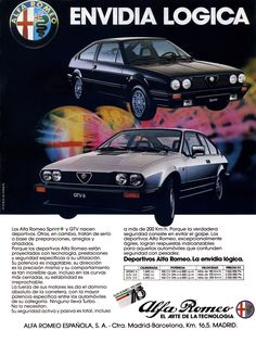 Alfa Romeo Sprint & GTV advertisement 1980