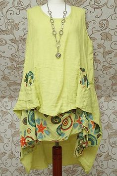 Diverse Green Summer Linen Balloon Lagenlook Dress Quirky Boho Parachute Bust 42 | eBay