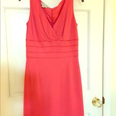 Coral cocktail dress Gorgeous coral cocktail dress for weddings or parties. Low cut and sexy, this fully lined dress comes just above the knee. Runs small Kay Unger Dresses Wedding