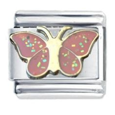 Pink Butterfly with Glitter Enamel Italian Charm - fits Nomination Classic Bracelet - (Exclusive to Amazon)