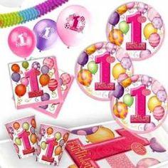 RZOnlinehandel - Partyset 1.Geburtstag Mädchen pink für 8 Personen - 43teilig Party Set, Pink, 1st Birthday Girls, Celebration, Pink Hair, Roses