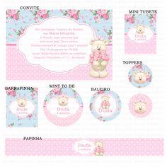 Kits digitais Charme Papeteria - Ursinha Azul e rosa