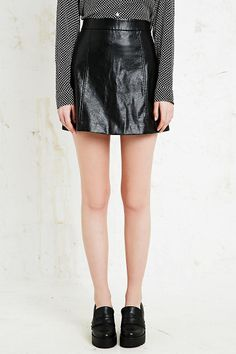 Cooperative High-Shine PU A-Line Skirt