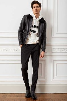 Trendy Mens Fashion, Stylish Men, Urban Fashion, Men Casual, Male Fashion, Mode Masculine, Leather Jeans Men, Leather Jacket, Man Dressing Style