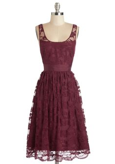 Anticipated Moments Dress. You may have just awoken, but you already cant wait for the sun to go down, for tonight you'll wear this lace midi dress by BB Dakota! #red #wedding #bridesmaid #modcloth