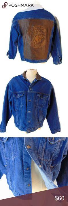 b58652cc52d596 USMC Marine Corp Leather Patch Jean Jacket XL Tyca brand denim trucker  jacket