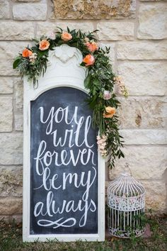 Chalkboard Wedding Sign with a floral garland. Love the script font. wedding quotes Sweet Southern Peach Wedding Shoot with a Floral Monogram Wedding Shoot, Fall Wedding, Dream Wedding, 2017 Wedding, Wedding Trends, Trendy Wedding, Chic Wedding, Rustic Wedding Signs, Wedding Signage
