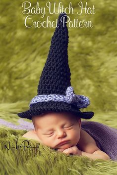 Crochet Pattern - this adorable crochet baby witch hat pattern makes a precious halloween costume idea! Instant download pdf so you can start crocheting right away. By Posh Patterns.