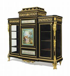 A NAPOLEON III ORMOLU AND SEVRES STYLE PORCELAIN-MOUNTED EBONIZED AND BRASS-INLAID VITRINE CABINET<br />BY HUBERT-JOSEPH HEUBES, PARIS, THIRD QUARTER 19TH CENTURY <br />The central spreading pediment with foliate swags, flanked to each side by a black marble top, above a central door with a turquoise-ground plaque depicting <i>Le goûter de l'Automne,</i> after Boucher, with two further porcelain plaques, flanked to each side by a glazed door, the angles with male and female caryatids, above…