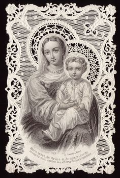 Holy Card Heaven: Our Lady of the Rosary: Feast Day, October 7 Religious Images, Religious Icons, Religious Art, Our Lady Of Rosary, Holy Rosary, Image Jesus, Vintage Holy Cards, Queen Of Heaven, Sainte Marie