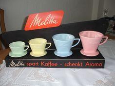 Melitta Minden alter Werbeaufsteller mit 4 Kaffeefiltern 100 - 123 pastellfarben