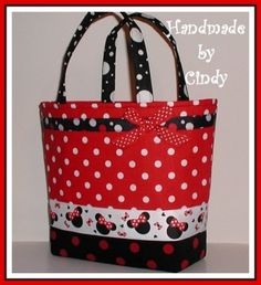 Minnie Mouse Purse Toddler Tote Bag Red Black White Polka Dot Dots | originalsbycindy - Children's on ArtFire