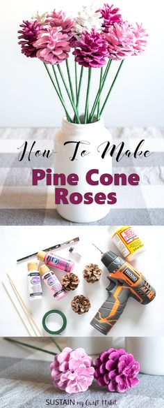 Make your own pine cone roses with this fun and simple tutorial by Sustain My Craft Habit. A beautiful, budget-friendly rustic farmhouse decorating idea for Valentine's, Mother's day a baby shower or more. #pinecones #pineconecrafts #pinkcrafts #paintedpinecones