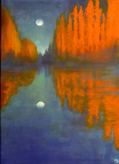 The Moon and the Poplars, John O'Grady | Striking tall orange poplars are reflected in the still water of the blue-green river while the moon climbs in the sky in this life affirming and quiet landscape.