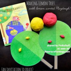 A great sensory activity! Make lemon trees with lemon scented playdoh and read The Red Lemon by Bob Staake. Take a look at this great blog post on @iheartcraftythings where you can learn all about it!: http://www.iheartcraftythings.com/2014/04/makinglemontreeswithlemonscented.html - - click on pin for more!    - Like our instagram posts?  Please follow us there at instagram.com/pediastaff .