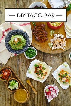 In our opinion, nothing makes better party food than tacos! So check out this DIY Taco Bar for inspiration on how to serve up an easy and delicious menu for everything from Game Day to Cinco de Mayo. Don't forget the margaritas! Taco Bar, Food Stations, Party Stations, How To Cook Shrimp, Pizza, Diy Food, Mexican Food Recipes, Mexican Snacks, Bunt