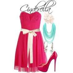 Cinderella: Pink Dress by allij28 on Polyvore featuring polyvore, fashion, style, Eileen Kirby, Christian Louboutin, Disney, Matthew Williamson, strapless dresses, bows and peep toe shoes