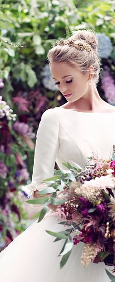 This elegant bridal look would be fit for a modern-day princess.