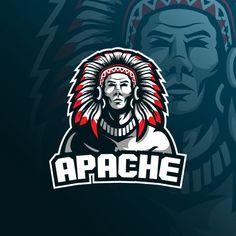 Tribe apache mascot logo with modern ill. Native American Warrior, Native American Girls, Vector Portrait, Digital Portrait, Forte Apache, Goofy Disney, Indian Skull, Sports Team Logos, Grafiti