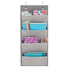 Amazon.com: InterDesign Aldo Wall Mount/Over Door Fabric Closet Storage Organizer for Purses, Toys, Baby/Kids Clothing - 4 Pockets, Gray: Home & Kitchen
