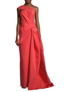 Silk Asymmetrical Draped Gown por Carolina Herrera en Gilt