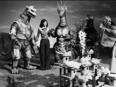 Tomoko Ai and monsters at ceremony before the filming of TERROR OF MECHAGODZILLA (1975)