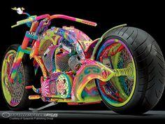 vehicle motorcycle bike custom pam by rick fairless hippie colorful peace Custom Choppers, Custom Motorcycles, Custom Bikes, Hardcore, Bike Builder, American Motorcycles, Mens Toys, Custom Paint Jobs, Hot Bikes