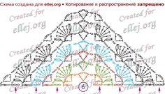 Схема вязания узора для шали с пышными столбиками Морские Гребешки