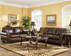 Palmer Walnut Leather Brown Sofa Love Seat Set By Ashley Furniture Palmer Walnut Leather Living Room