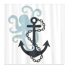 BATHROOM: I feel like this is symbolic of a certain relationship I am in......Anchor & Octopus - Nautical themed shower curtain