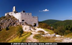 A view of ruined Castle of Cachtice situated in the mountains above the Cachtice village in the west of Slovakia in Trencin region. The Castle of Cachtice was residence of the world famous Elizabeth Batory and it is definitely worth a visit.