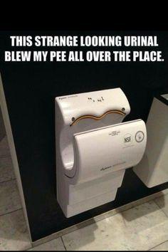 Crazy Urinal. Eww it's a hand dryer