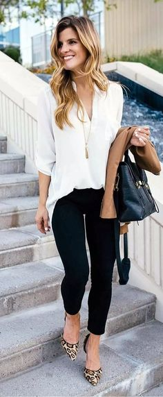 Ivory blouse, black skinny jeans and leopard print heels - fall outfit professional wear