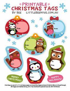 Free Printable holiday tags | FreshStitches