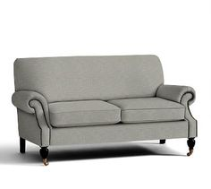 """Brooklyn Upholstered Love Seat 64"""", Polyester Wrapped Cushions, Premium Performance Basketweave Light Gray"""