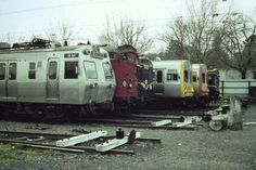 Five different colour schemes, four different types of trains