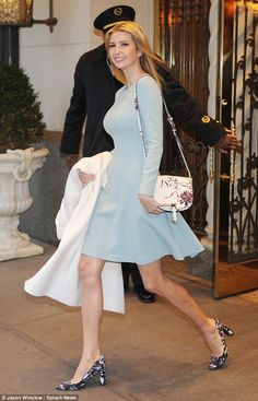 Ivanka Trump braves New York's frosty weather without a coat in a chic blue dress | Daily Mail Online