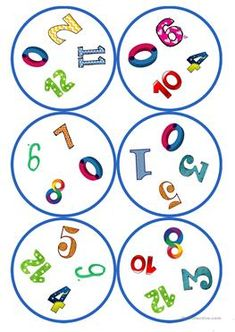 Games in German lessons: Dobble - numbers cards / 4 symbols) - - Montessori Activities, Kindergarten Activities, Activities For Kids, Diy Game, English Activities, Classroom Fun, Math For Kids, Activity Games, Teaching English